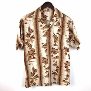 Vintage Hawaiian Shirt Size M Brown/Beige